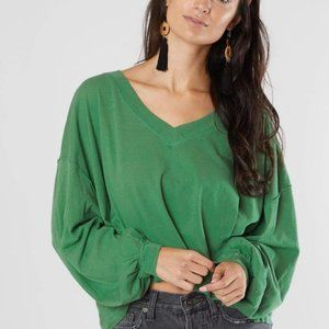 Free People Buffy Tee knit top Green size S